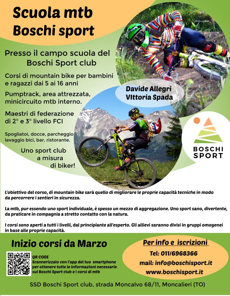 Scuola di mountain bike presso Boschi Sport club. Maestri mtb Davide Allegri e Vittoria Spada
